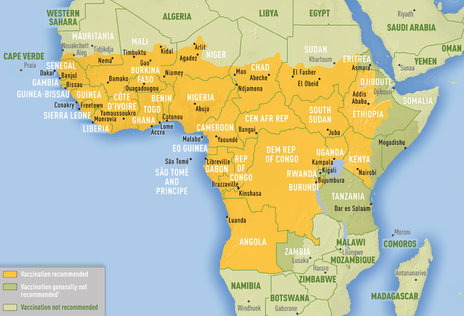 Current Map Of Africa Countries.U S Shortage Of Yellow Fever Vaccine