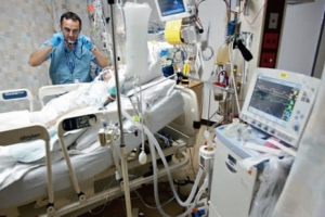 A critically ill patient receiving supportive care in the ICU